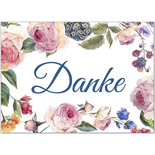 15 x Dankeskarten mit Umschlag - Rosen Blumen Vintage edel schön und hübsch - Danksagungskarten, Danke sagen, nach Hochzeit, Geburt, Baby, Taufe, Geburtstag, Kommunion, Konfirmation, Jugendweihe