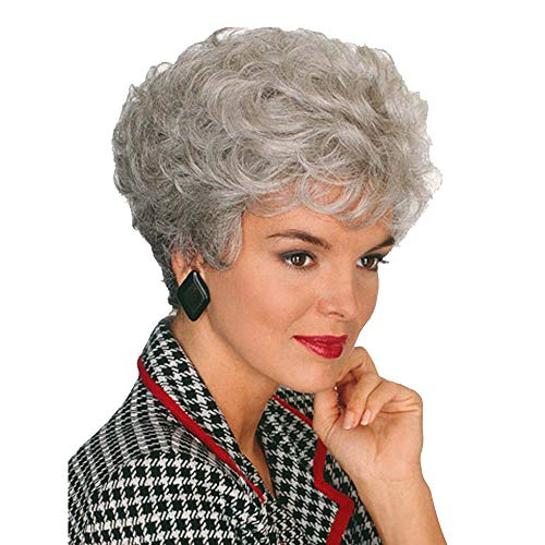 GNIMEGIL Short Curly Hair in Synthetic Womens Costume Party Wigs Gifts Silver Grey Mommy Wig Old Lady Wig