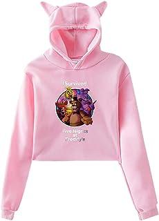 Erido FNAF Plush Foxy Unisexe Homme Femme Sweat /À Capuche Sweat-Shirt Jersey Pull-Over Noir Toutes Les Tailles Mens Womens Hoodie Black