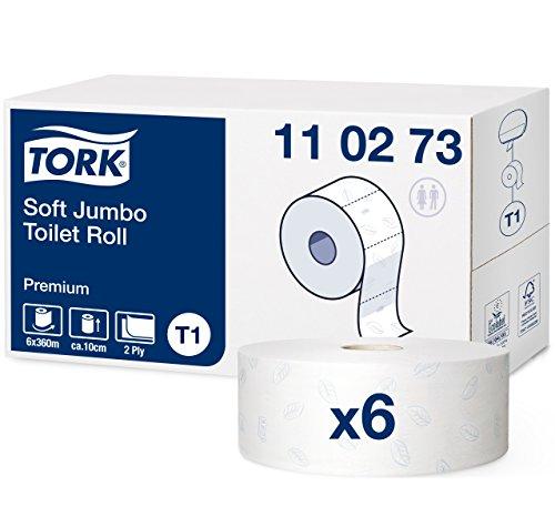 Tork 110273 weiches Jumbo Toilettenpapier in Premium Qualität für das Tork T1 Jumbo Toilettenpapiersystem / Toilettenpapier 2-lagig in hellem Weiß / mit Lorbeerblatt-Prägung, 6 x 1.800 Blatt