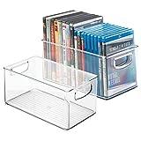 mDesign Juego de 2 cajas organizadoras para DVD, CD y videojuegos – Práctica caja para DVD con asa, fácil de transportar – Caja de plástico porta DVD para películas o juegos de consola – transparente