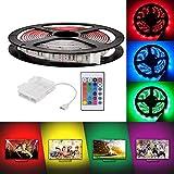 3m Luces de Tira LED con 24-tecla de control remoto y caja de batería, RGB 5050 Impermeable multicolor iluminación para...