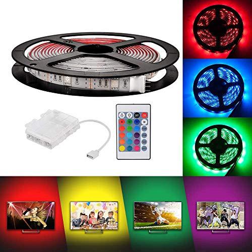 3m Luces de Tira LED con 24-tecla de control remoto y caja de batería, RGB 5050 Impermeable multicolor iluminación para decoración de interiores y interiores de Navidad