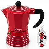 Stovetop Espresso Maker 3 CUP RAINBEAN, Moka Pot 2021, Italian Cuban Greca Coffer Maker Easy to Use & Clean, RED Espresso Coffee Percolator, Aluminum & Durable, 6oz Best Kitchen Gift