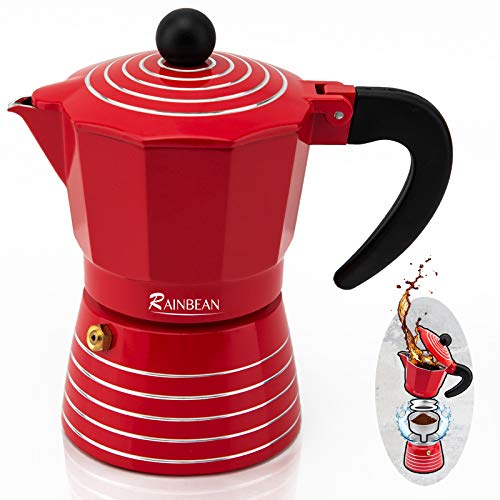 Espresso Maker Moka Pot 3 Cup, Steam Stove Top Coffee Maker Percolator, Italian Coffee Pot Ripple Ring Design by RAINBEAN, Red