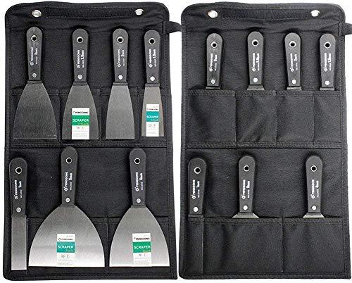 7 Stücke Schaber Spachtel Set 50# Stahl Lackputzmesser Wandschaber mit Schwarze Aufbewahrungstasche Werkzeugtasche GJB56