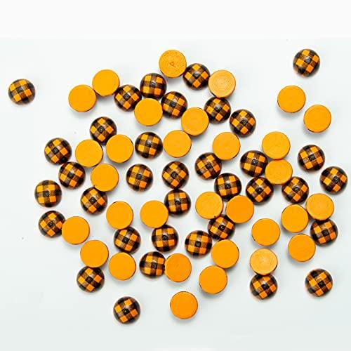QYLJZB 100 bolas de media madera para manualidades, cuentas de madera a cuadros, bolas de madera divididas de búfalo para granja DIY proyectos manualidades adorno de vacaciones (naranja-negro)