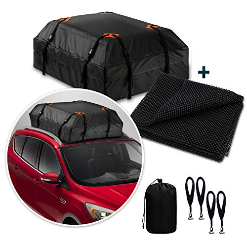 Zone Tech Car Roof Cargo Bag Water Resistant with a Protective Anti Slip Mat – 8 Reinforced Premium Quality Straps Rubberized Extra Cushioning Car Roof Pad, Travel, Touring, Road Trips for Car, SUV
