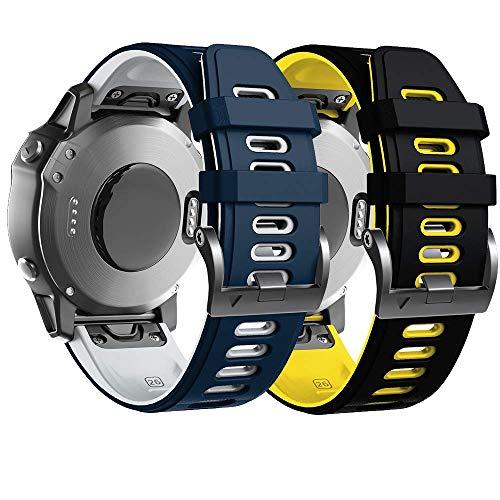 Anbest - Cinturino sportivo in silicone compatibile con Fenix 6X, per Fenix 5X, 5X, 5X, Plus, Fenix 6X, Pro, Fenix 3, Fenix 3 HR, abbassamento MK1, D2, Delta PX, D2 Charlie Smartwatch
