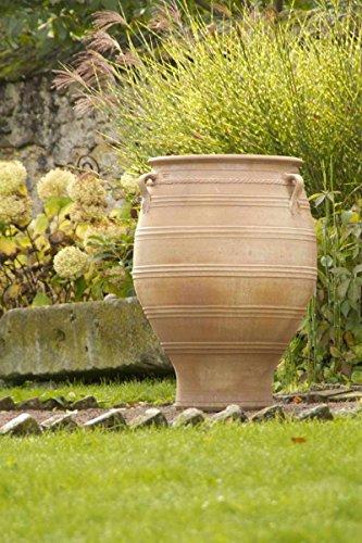 Kreta-Keramik, große Terracotta Amphore mit Henkel, 100 cm, frostfest mediterrane Keramik für den Garten Terrasse Außenbereich Deko, Thymus