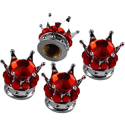 Nueva tapa de válvula 4 piezas de neumático/rueda Stem Tapas de válvula carro del coche (Color : Red)