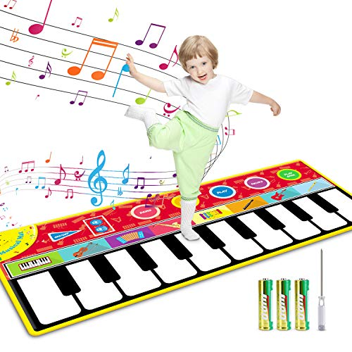 "Tencoz Kids Musical Mats, 10 Keys Piano Mat with 8 Selectable Musical Instruments, Floor Keyboard for Boys Girls, Kids Early Educational Toys (58.26"" x 23.62"")"