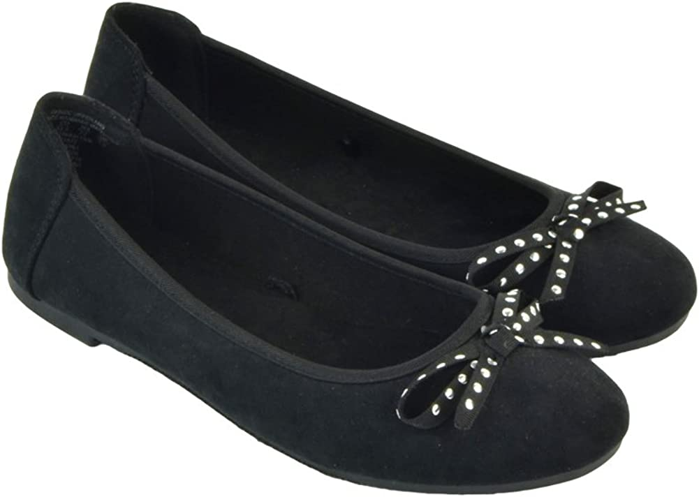 Girls Flat Shoes Comfortable Slip on Round Toe Ballet Flats Suede Black - Size 2