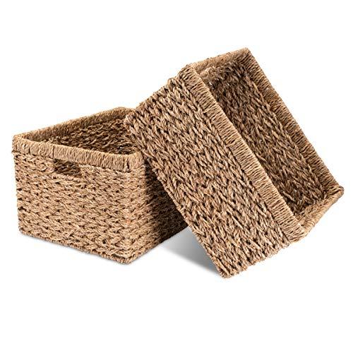 Decorasian - Juego de 2 cestas de almacenamiento (trenzadas, de junco marítimo, muy estable, tamaño grande)
