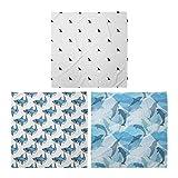 ABAKUHAUS Pack de 3 Bandanas Unisex, La feroz tiburón salvaje mar de los pescados del patrón Submarino, Multicolor
