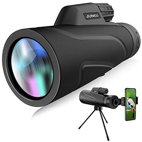 12X42 High Power Monocular Telescope,Monocular Scope for Bird Watching Camping Hunting Wildlife Traveling,Protable Waterproof Fogproof Adults Men Kids Gifts(with Quick Smartphone Holder and Tripod)