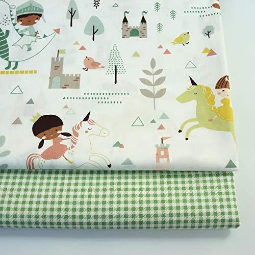 AIREQN 2PCS Dinosaures, Fox Cartoon Twill imprimé 100% Coton Tissu for bébé à Coudre Quilt Fat Quarters Enfant Bricolage Patchwork Tissu (Color : A032, Size : 50x40cm)
