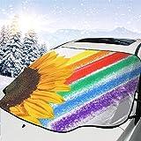 lovely baby-Z Cubierta de nieve para parabrisas de coche, de flor amarilla, para quitar hielo, para protección de invierno, ajuste universal para coches, camiones, furgonetas y SUV, grueso y grande