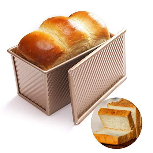 C100AE Brotbackform mit Deckel, Kastenform antihaftbeschichtet, Karbonstahl Brot Toastform, Kuchen Brotbackform Mold, Backform mit Belüftungslöchern für schnelles Backen