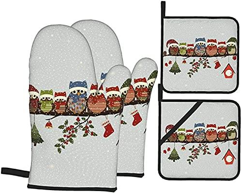 Simpatici gufi Mas su guanti da forno e presine per pentole Guanti resistenti al calore e cuscinetti caldi antiscivolo (set da 4 pezzi)