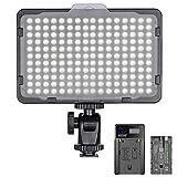 Neewer 調光可能な176 LEDビデオライト 5600Kライトパネル 2200mAhリチウムイオンバッテリー、USBバッテリー充電器付き Canon、Nikon、Pentax、Panasonic、Sonyなどのデジタル一眼レフカメラに使え