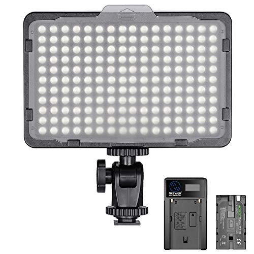 Neewer Pannello Luce 176 LED Dimmerabile 5600K On-camera con Batteria 2200mAh & Caricabatterie a USB, per Fotografia Reflex Digitali Canon Nikon Pentax Panasonic Sony ecc.