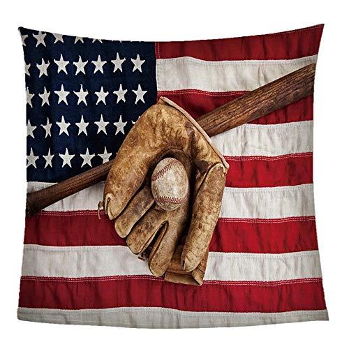 Mantas para Sofás De Franela Bandera Americana De Béisbol Throw Manta Sherpa 150X200CM - Manta para Cama 90 Reversible De 100% Microfibre Extra Suave - para Todo Uso Multipropósito