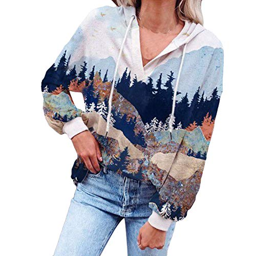 Pullover Damen Mountain Graphic Hoodie Loose Hooded Sweatshirt Langarm Tie Dye Hooded...