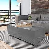 Susany Table Basse Extensible de Salon Table de Canapé Gris Brillant 120 x 60 x 35 cm
