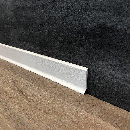 15 Meter Fußleisten | Sockelleisten 60 x 12.8 mm25560-1587 aus PVC Hartschaum mit durchgefärbter Weichlippe| Kunststoff-Leiste Weiß | Weiße Sockelleistegrau