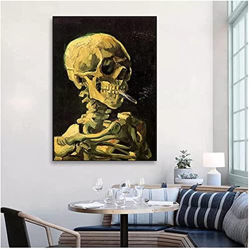 Lienzos Decorativos Cuadro de Lienzo de Esqueleto Fumador Impreso Arte Abstracto Poster de Calavera Arte de Pared Retro habitación Oficina Decoracion del hogar60x90cm x1 Sin Marco