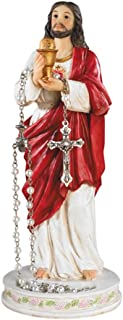 CB Jesus Christ with Chalice Communion Rosary Holder Resin Statue, 8 Inch