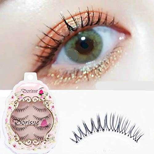 Dorisue Fake eyelashes Natural eyelashes Look Real 3D Light Weight Short natural eyelashes wispies False Eyelashes Short Handmade lashes Hight Quality face eyelashes Pack of 4 eyelashes pack
