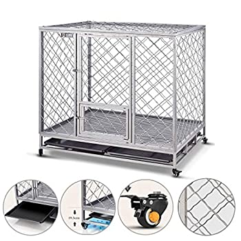Chenils Acier à Double Cage Chien Porte Grande Cage for Animaux en métal puits de lumière interactif avec Porte Double Serrure Alimentation Fixe clôture Chien (Color : Gray, Size : 105 * 77 * 100cm)
