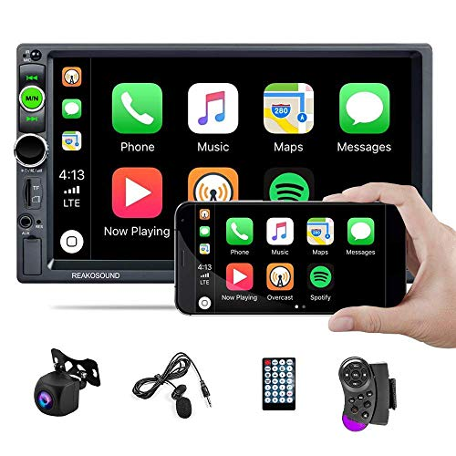 UNITOPSCI Car Stereo Double Din Car Radio with 7 Inch HD Touch Screen Bluetooth Radio Receiver Support D-Player Mirror Link FM AUX in/USB/TF Card with AHD Backup Camera Remote Control SWC Microphone