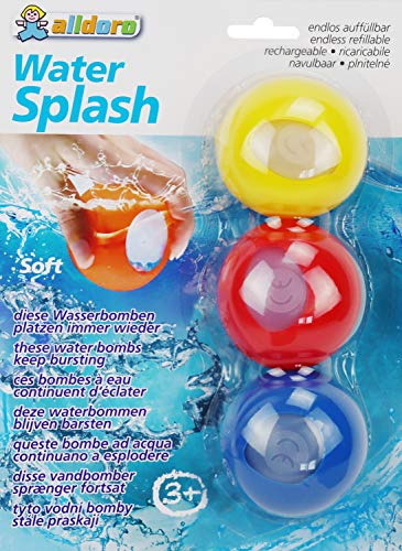 alldoro 63027 – Water Splash – Juego de 3 bombas de agua, reutilizables y con cierre automático, globos de agua para jardín, playa y fiesta, para niños a partir de 3 años y adultos, amarillo/rojo/azul