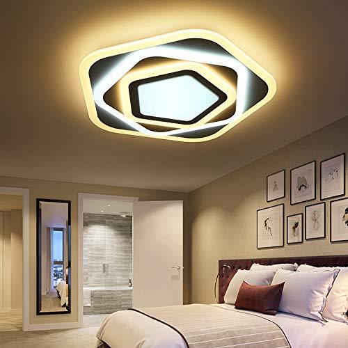 LED Deckenleuchte XW095-50x50 cm, H 9 cm, 50W mit Fernbedienung Lichtfarbe/Helligkeit einstellbar Acryl-Schirm weiß lackierter Metallrahmen, sehr flaches Design! (XW095-50x50 cm, H 9 cm, 50W)