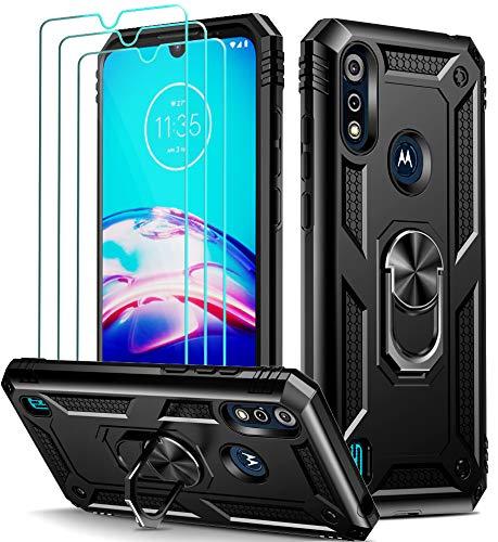 ivoler für Motorola Moto E6S / Moto E6i Hülle mit [Panzerglas Schutzfolie *3], Militärischer Schutz Stoßfest Handyhülle Anti-Kratzer Schutzhülle Hülle Cover mit 360 Grad Ring Halter, Schwarz