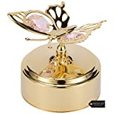 Matashi 24K Gold Plated Music Box Plays - Waltz of The Flower with Crystal Studded Butterfly Figurine Home Living Room Decor Tabletop Ornaments Showpiece Gift for Musician Christmas Mother's Day