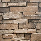 Melwod Stone Peel and Stick Contact Paper 17.71' x 118' Faux Textured Stone Look Wallpaper 3D Effect Stone Brick Wallpaper Self Adhesive Removable Wall Covering for Livingroom Fireplace Kitchen Walls