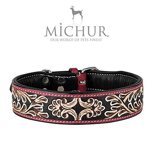 MICHUR Silvio Hundehalsband Leder, Lederhalsband Hund,Braun Schwarz Rot mit Muster, Halsband, Leder, in verschiedenen Größen erhältlich