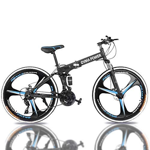OYMA Power 26 in 21-Speed Full Suspension MTB Bikes Folding Mountain Bike … (Blue)