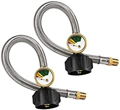 Lichamp Propane Hose with Gauge, 2 Pack 12 Inch 1/4