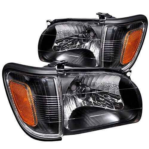 Spec-D Tuning Black Housing Clear Lens Headlights + Corner Lights for 2001-2004 Tacoma Head Light Turn Signal Parking Lamps Left + Right Pair