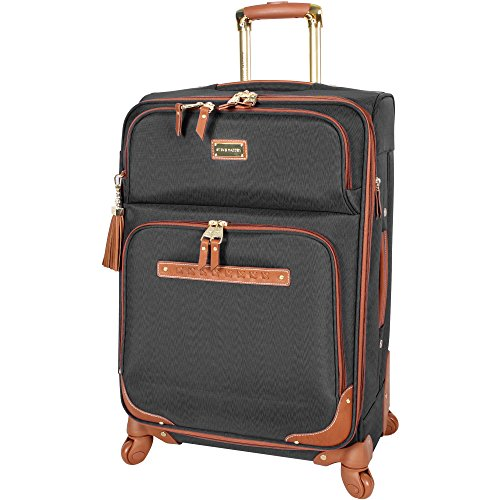 Steve Madden Designer Luggage Collection - Expandable 24 Inch Softside Bag - Durable Mid-sized Lightweight Checked Suitcase with 4-Rolling Spinner Wheels (Global Black)