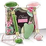 Rouleau de massage pour le visage en jade naturel et outil...
