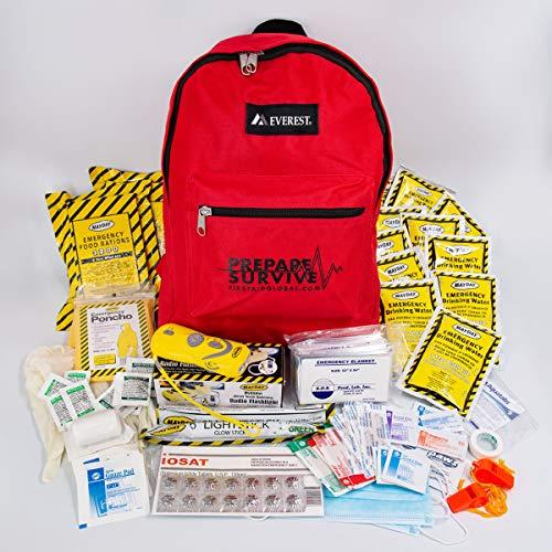 PrepareSurvive Emergency Preparedness Backpack for 2 with Dynamo Radio Flashlight