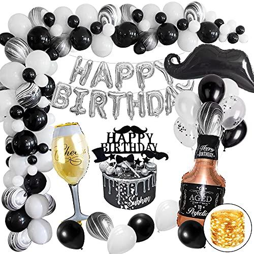 Geburtstagsdeko Mann, Schwarz Weiß Deko Geburtstag mit Happy Birthday Banner Lichterkette Konfetti Luftballons für Männer Frauen MEHRWEG