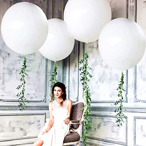 5PCS Large White Balloons Giant 36 Inch White Balloons Jumbo Balloons for Birthday Wedding Party Baby Shower Carnival Mother's Day Decorations