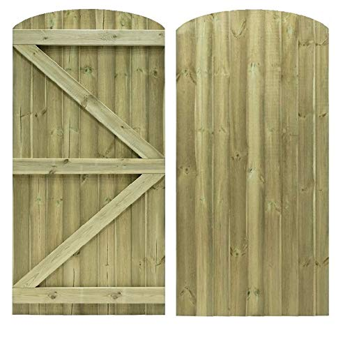 Photo of Feather Edge Arched Top Semi Braced Strong Garden Gate Driveway Fence Wood Timber Available in 4 Sizes (180cm Tall x 90cm Wide, with Ring Latch Hinge Pack)